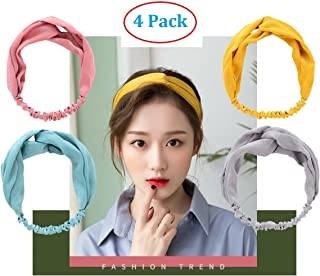 Headbands for Women. 4 Pack Headband Cross Head Wrap - Super Comfortable Hair Band - Perfect for Yoga or Fashion, Workout or Travel.
