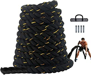 Battle Rope 1.5 Inch 30Ft Battle Rope 100% Polyester Battle Rope Black Exercise Training Rope forHome Gym or Fitness Exerc...