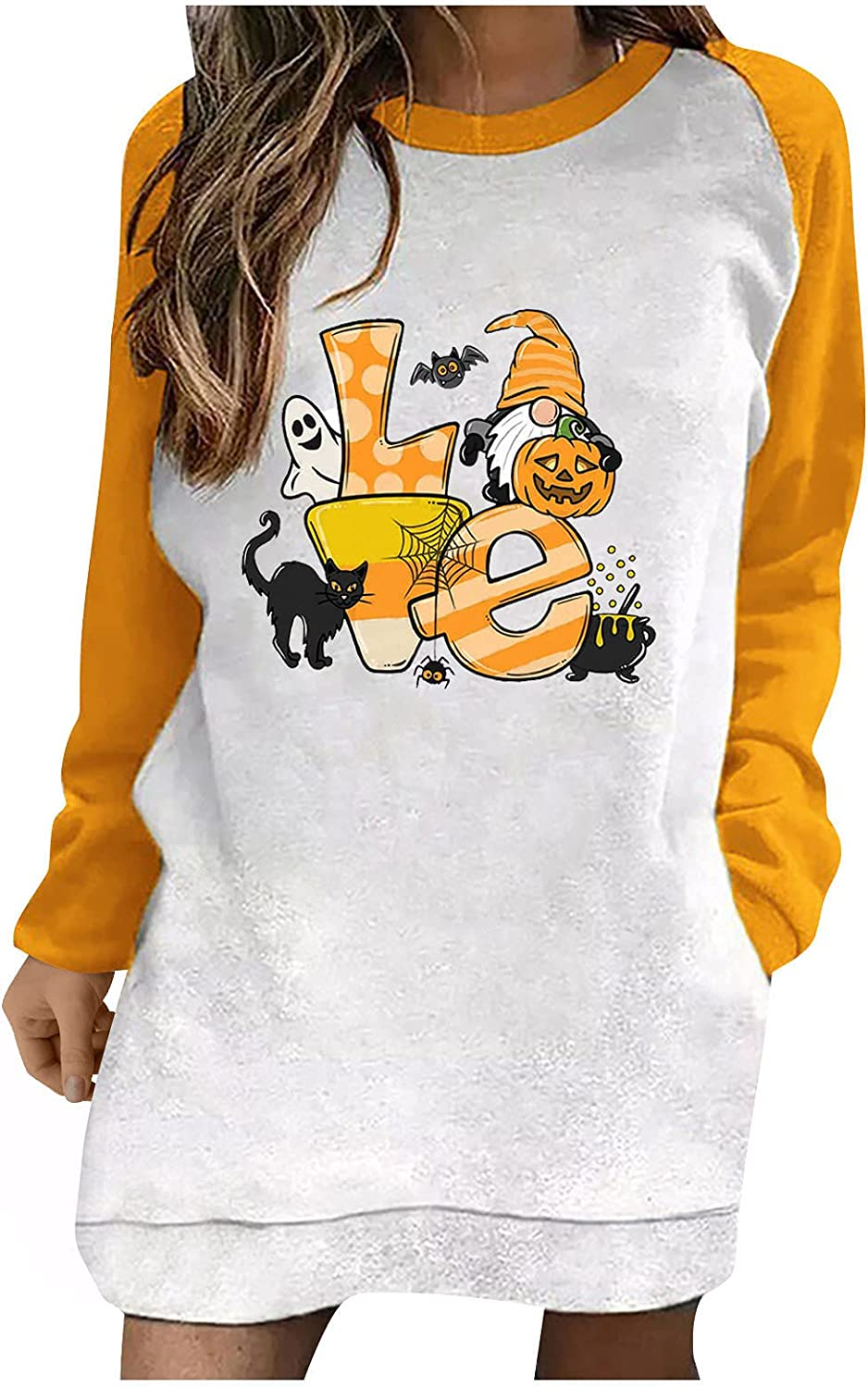 Women Free shipping anywhere in the nation Halloween Long Sleeve Tunic Pumpkin Graphic Our shop OFFers the best service Crewneck Tops