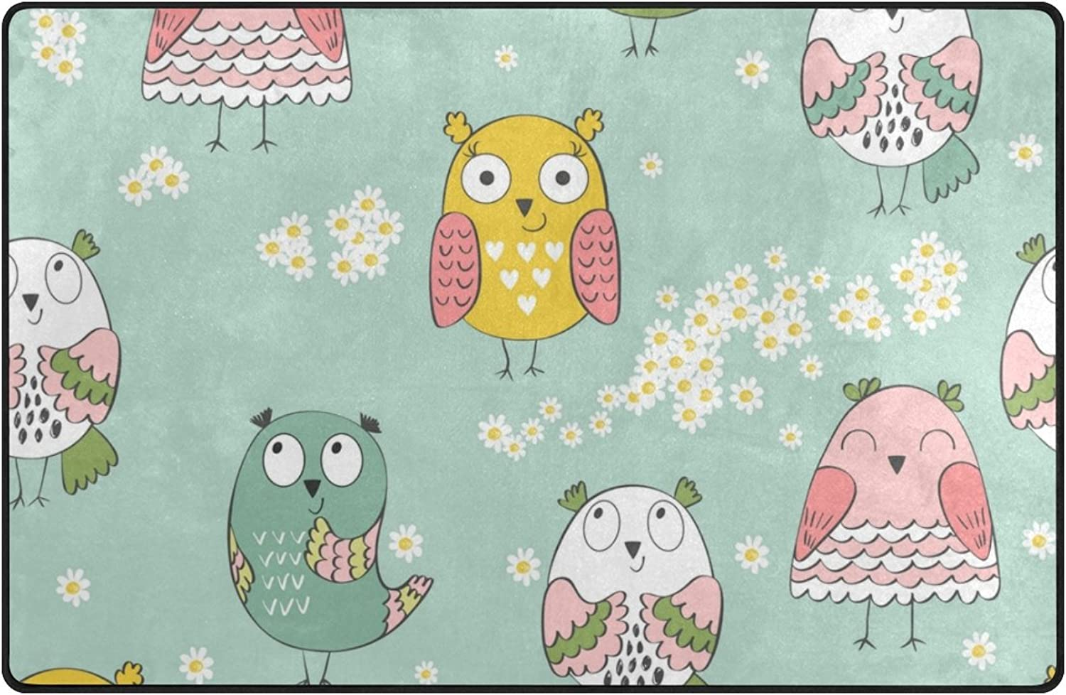 U Life Cute Cartoon Owls Floral Flower Large Doormats Area Rug Runner Floor Mat Carpet for Entrance Way Living Room Bedroom Kitchen Office 80 x 58 Inch