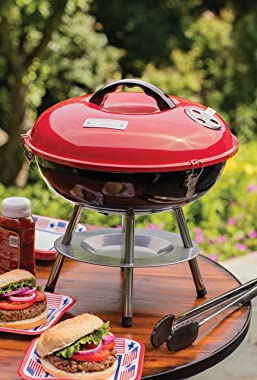 """Cuisinart CCG190RB Portable Charcoal Grill, 14-Inch, Red, 14.5"""" x 14.5"""" x 15"""""""