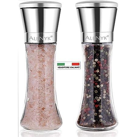 Set di 2 macinini per sale e pepe con coperchio in ceramica Queta nero//bianco corpo in acciaio inox spazzolato e vetro