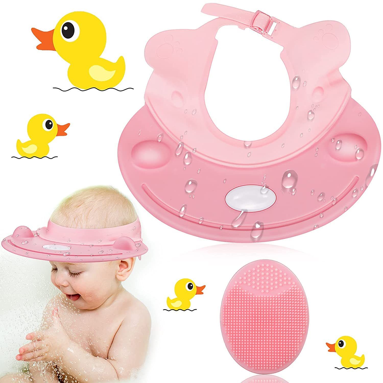 Baby Shower Cap Bath Cap Hat Visor for Kids Toddler Washing Hair Adjustable Waterproof Silicone with Ear Protection Soft (Pink)