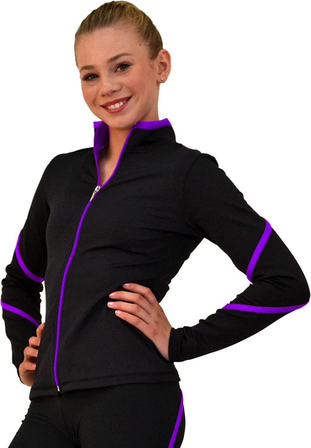 Chloe Noel Figure Skating Heavy Poly Spandex Pipings Swirl Jacket J76