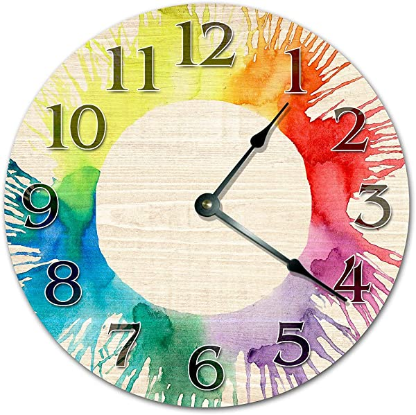 10 5 Creative Watercolor Artsy Clock Colorful Clock Large 10 5 Wall Clock Home Decor Clock