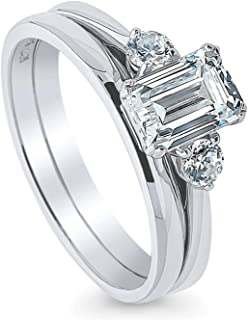 Rhodium Plated Sterling Silver 3-Stone Anniversary Engagement Wedding Ring Set Made with Swarovski Zirconia Emerald Cut 1.22 CTW
