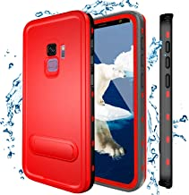 Samsung Galaxy S9 Waterproof Case, Shockproof Dustproof Snowproof Hard Shell Full-Body Underwater Protective Box Rugged Cover with Kickstand and Built in Screen Protector for Galaxy S9 (RED)
