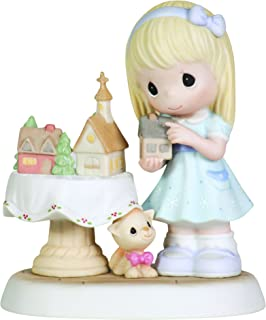 Precious Moments Girl with Christmas Village Figurine Home is The Heart of Christmas