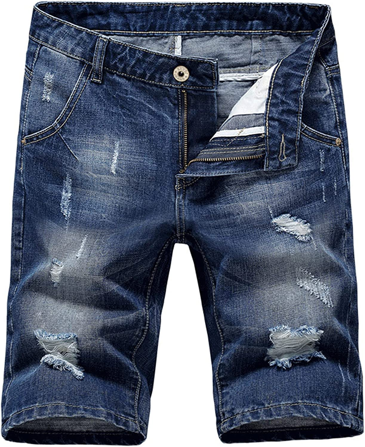 Casual Ripped Denim Shorts for Men Summer Knee Lenght Jeans with Hole Straight Fit Destroyed Short Jean Pants