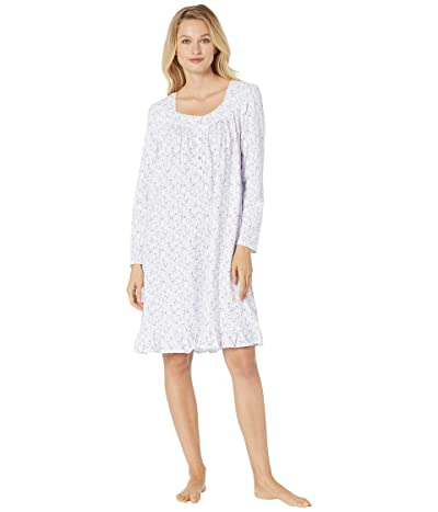 Eileen West Cotton Peached Jersey Long Sleeve Short Nightgown (White Ground/Floral Scroll) Women