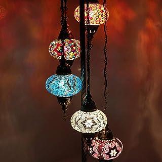 Home Design Lampadaire traditionnel marocain fait à la main en verre authentique Multicolore 5 pièces