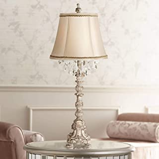 Duval French Traditional Table Lamp Candlestick Vintage Whitewash Crystal Beading Artisan Trimmed Cream Bell Shade for Living Room Bedroom Bedside Nightstand Office Family - Barnes and Ivy