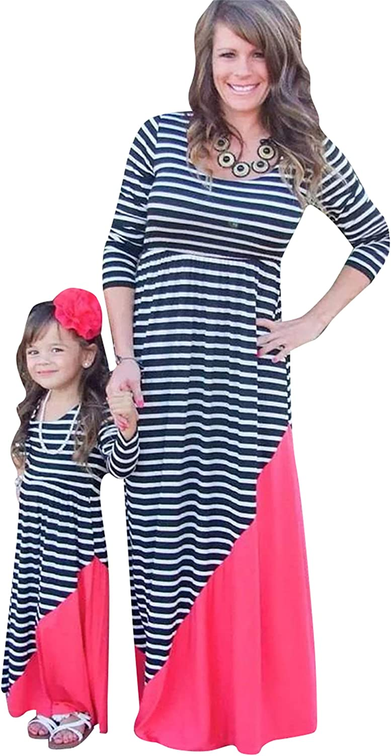 TYQQU Mommy and Me Weekly update Dresses Popular overseas Dress Parent-Child Boho Flare O-Neck
