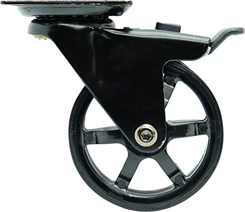 Headbourne 8276E 3 inch Mag, 4 Pack Designer Caster, 3-Inch, Black Polyurethane, 4 Count