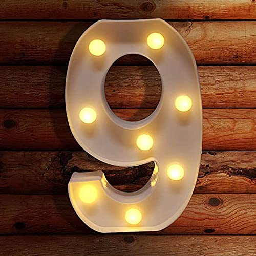 discount RiamxwR Decorative Led Light online wholesale Up Number Light, Plastic Marquee Warm Light Number Lights Sign Party Wedding Decor, Battery Operated (9) online