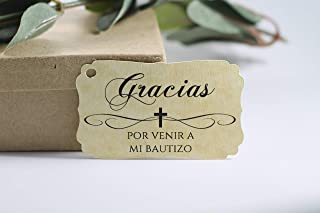 Antique Gold Baptism Tags - Gracias Por Venir A Mi Bautizo (Set of 40)