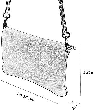 SH Leder Echtleder Umhängetasche Clutch kleine Tasche Abendtasche 24,50x15cm Ely G149
