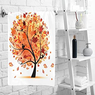 Wamika Fall Leaves Hand Towels Autumn Maple Tree Face Towel Ultra Soft Highly Absorbent Guest Towel Portable Kitchen Tea Towels Washcloths Bathroom Decor Housewarming 16