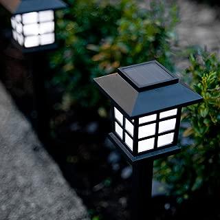 Set of 6 White LED Solar Lantern Garden Landscape Lights