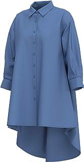 cokuco P1082 Womens 3/4 Sleeve Button Down Long Shirts Tunic Top