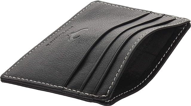 Real Leather Credit Card Holder - Ultra Thin Design - Front Pocket Wallet - RFID (Jet Black)