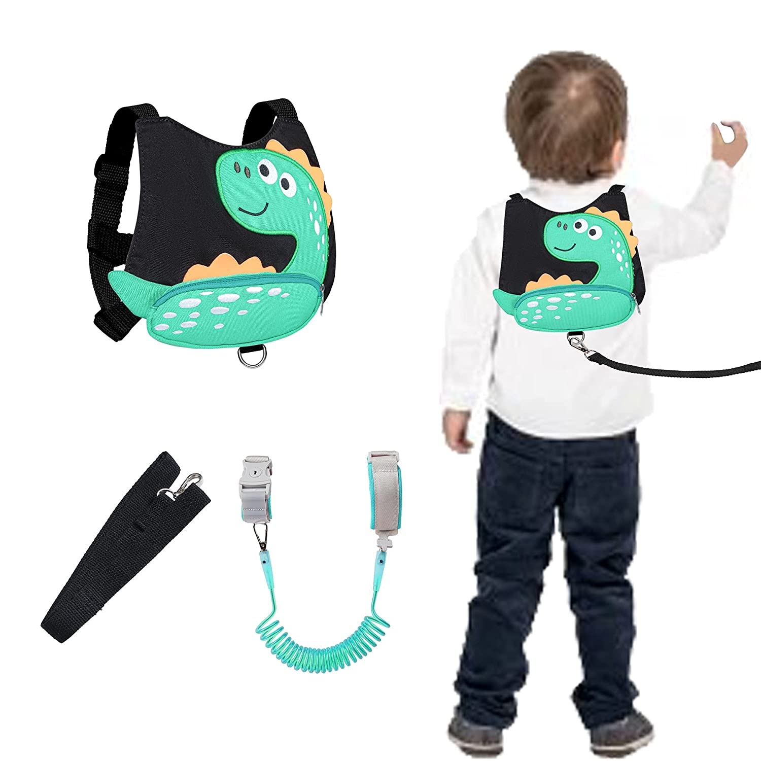 Dinosaur Toddler Kids Safety Harness with Leashes Anti Lost Wrist Leash Link Wristband (Dinosuar Black)