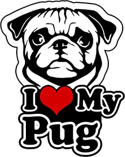 OwnTheAvenue I Love My Pug Bumper Window Vinyl Decal Sticker Love My Rescue Dog 5