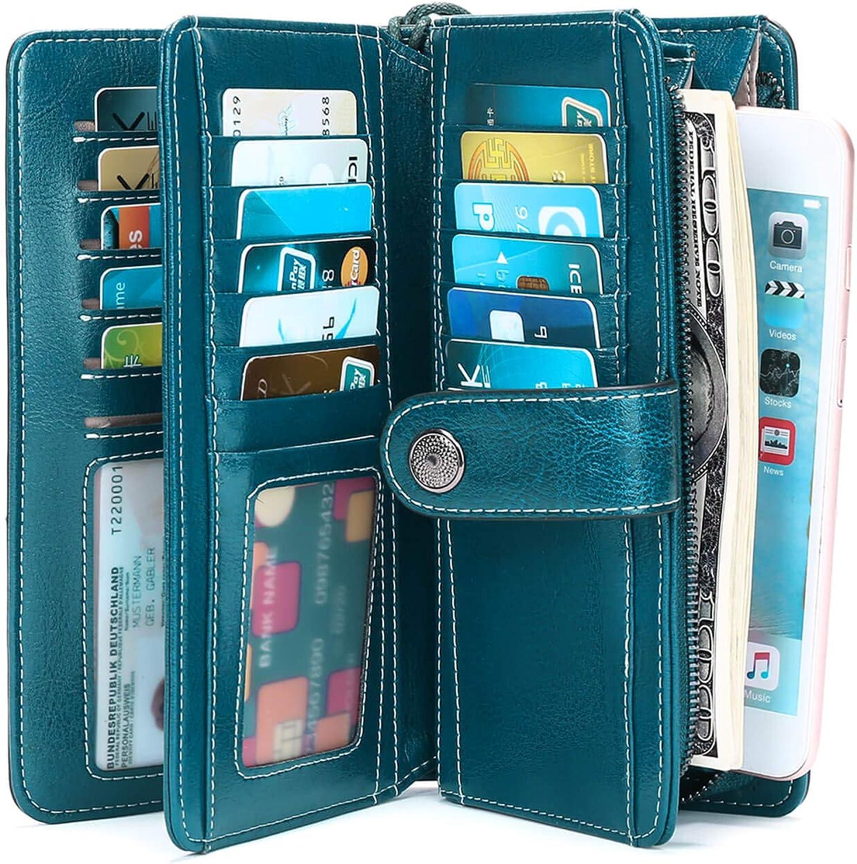 新作製品、世界最高品質人気! Genuine Leather Long 年中無休 Wallets for Pocket with Zipper RFID Womens