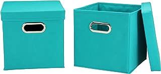 Household Essentials 36-1 Decorative Storage Cube Set with Removable Lids | Aqua | 2-Pack