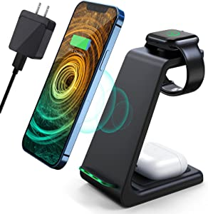 Wireless Charging Station,3 in 1 Fast Charging Station,Wireless Charger Stand for iPhone 12/11 Pro Max/X/Xs Max/8/8 Plus, AirPods 2/pro, iWatch Series, and Samsung Phones