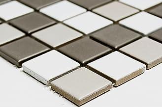 Mozaïeknetwerk mozaïektegel vierkante mix wit/grijs/antraciet mat keramiek mozaïek muur tegelspiegel douchebak tegelspiege...