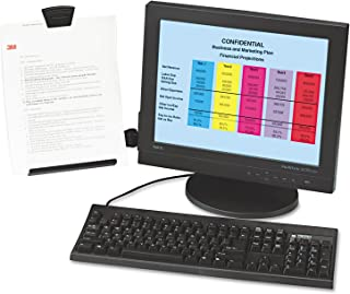 3M Monitor Mount Document Copy Holder, Holds Documents at Eye Level Off the Desk, Adjustable Clip Holds Paper in Portrait or Landscape, Mounts with Command Adhesive, 35 Sheet Capacity, Black (DH445)