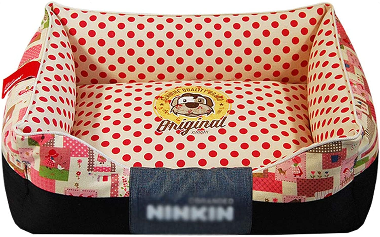 66ccwwww Pet bed Pet Mat, Large Dog Kennel Cat House Removable And Washable Pet Nest Wearresistant Bite Pet Bed (color   RED, Size   35×45cm)