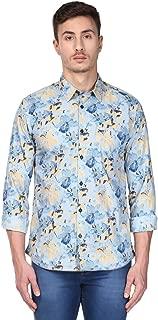 Park Avenue Full Sleeve Ainsley Collar Slim Fit Medium Blue Cotton Printed Shirt for Men