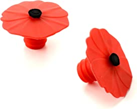 Charles Viancin 2 Poppy Silicone Bottle Stopper, Set of 2, 2.3, Red