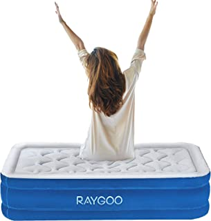 Twin Air Mattress with Built-in Pump for Guests,Premium Elevated Inflatable Air Bed for Guest and Camping, Blow Up Double High Air Mattress Quilt Top,Inflated Size - 78×40×18 INCH , 3-Year Guarantee
