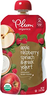 Plum Organics Stage 2 Organic Baby Food, Apple, Raspberry, Spinach and Greek Yogurt, 3.5 Ounce Pouches (Pack of 12) (Packa...