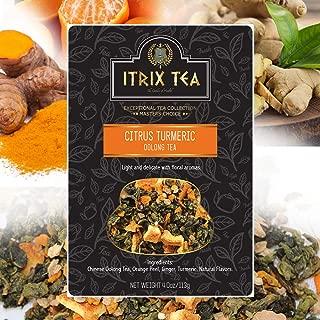 Itrix Tea -Healthy Edge - Immunity Booster - Detox - Weight Loss - CITRUS TURMERIC- OOLONG TEA Leaf Tea Blend - Orange Peel, Ginger, Turmeric - Oolong Tea - All Natural Ingredients (4 Oz)