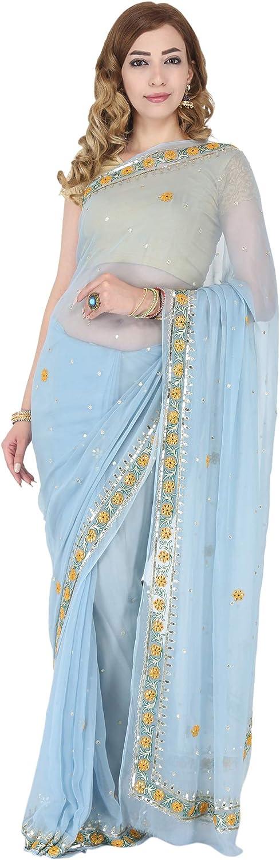 Saarvi Women's Resham Border Handwork Popular brand in the world Kalamkari Chiffon Dr Saree Max 50% OFF