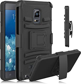 Note Edge Case, HengTech (TM) [Heavy Duty] Armor Holster Defender Full Body Protective Hybrid Case Cover with Kickstand & Belt Swivel Clip for Samsung Galaxy Note Edge (Black)
