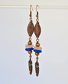 Orecchini lunghi con pendenti di piume per le donne, regali unici fatti a mano