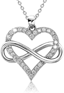 Jes & Jani Infinity Heart Necklace for Women, Love Heart Pendant with Cubic Zirconia and Infinity Necklace, 925 Sterling S...