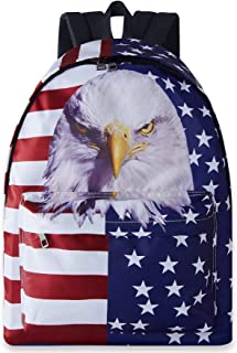 Boys Girls Teens Cute Backpack 3D Printed Red White Navy Blue American Eggle Flag Lightweight Bags Purple Durable Backpacks Shoulder Fish Scale Back Bags for Travel Hiking Sports