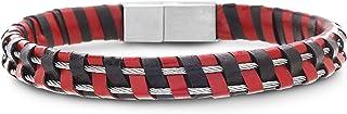 Steve Madden Stainless Steel Red Black Leather Wire Bracelet for Men
