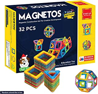 MAGNETOS Magnetic Blocks Building Set for Kids, 30+2 Pcs Educational Toys for Boys & Girls, FREE Booklet, Learning Construction Game, Best Christmas Birthday Gift & Preschool STEM Toy for Childrens