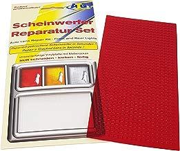 Kit de reparación de faros con placa de PVC de color rojo. Apto para faros delanteros y traseros de coches, motos o caravanas. Asistencia de emergencia para viajes. Adecuado también para acrílico y plexiglás. Reparación fácil y rápida de los faros.