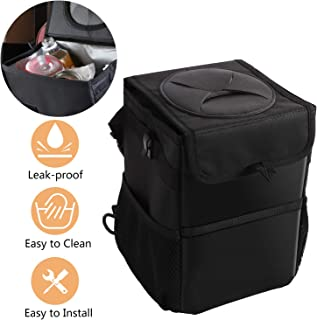 Keador Car Trash Can with Lid Leakproof Garbage Bag with 3 Storage Pockets for SUV Truck Minivan Hanging Back Front Seat Console Travelling Collapsible and Anti-Shake Design Headrest Hanging, Black