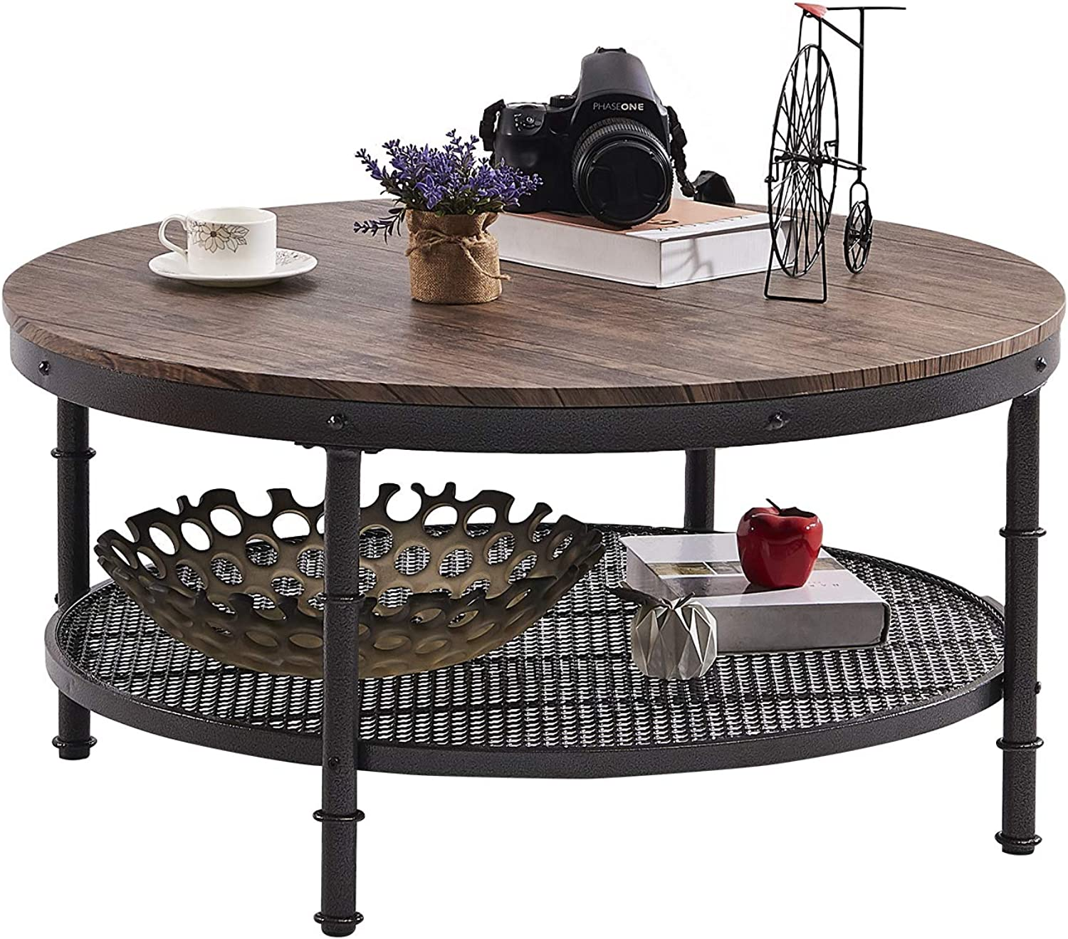 GreenForest – Coffee Table Round Wooden Design Metal Legs for Living Room, Rustic Walnut