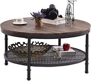 "GreenForest Coffee Table Round 35.8"" Industrial 2-Tier Sofa Table with Storage Open.."