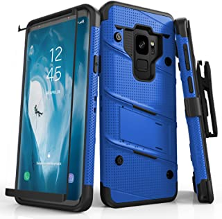 Zizo Bolt Series Samsung Galaxy S9 Case - Full Curved Glass Screen Protector with Holster and 12ft Military Grade Drop Tested (Blue & Black)